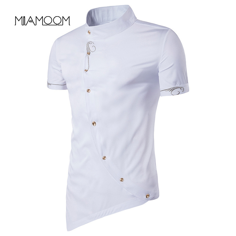 MIAMOOM Men Shirt Individual Character New Style Man Inclined Single Breasted Gentleman Wear Short Sleeve Shirt Streetwear