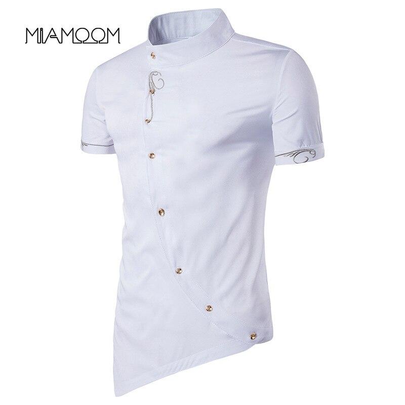 MIAMOOM Men Shirt Individual Character New Style Man Inclined Single Breasted Gentleman Wear Short Sleeve Shirt Streetwear