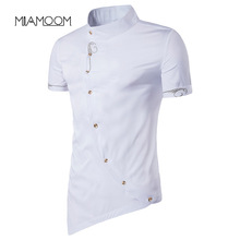 MIAMOOM Men Shirt Individual Character New Style Man Inclined Single Breasted Ge