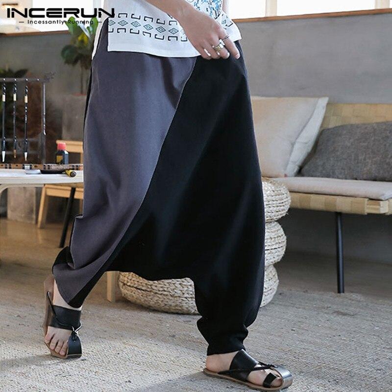 INCERUN Men Drop Crotch Harem Pants Joggers Loose Wide Leg Trousers Vintage Elastic Waist Patchwork Cotton Hip-hop Casual Pants