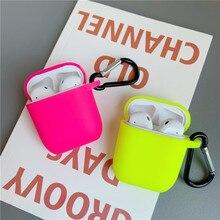 Floresan renk Apple Airpods için kılıf katı renk Bluetooth kulaklık koruyucu kapak hava pods 2 1 kulaklık kutusu çanta