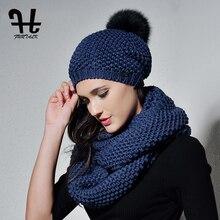 FURTALK Wool Beanie Hat and Scarf Set Woman Real Fox Fur pompom Hat Knitted Winter Warm Infinity Scarf Gils hat scarf set 2019