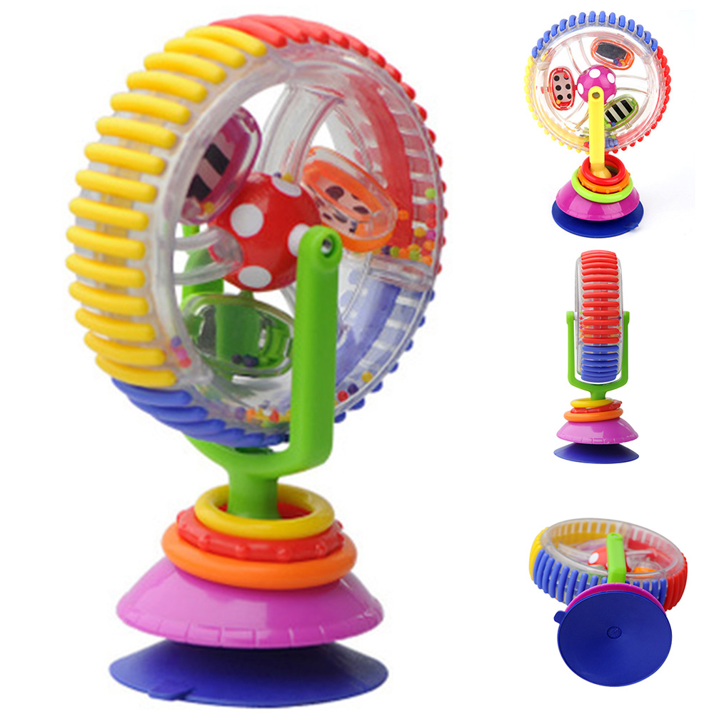 Multi-touch Rotating Ferris Wheel Tricolor Suckers Toy 0-12 Months Newborns Early Creative Educational Baby Rattle Toys For Gift