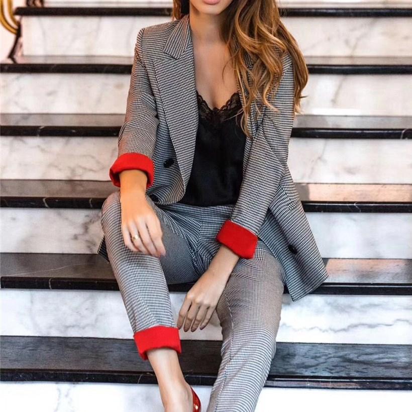 Vintage Plaid Women Two Piece Sets Female Retro Pants Suits Blazer Coat Feminino Casual Blazers Streetwear Outerwear