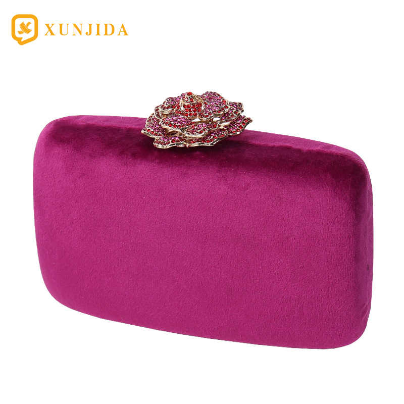 Xunjida 2020 Vrouwen Avondtasje Clutch Handtas Handtas Afneembare Ketting Wedding Cocktail Party Fluwelen Party Purse Bridal Violet