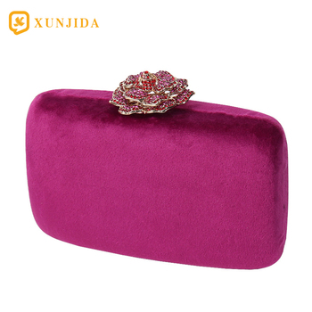 XUNJIDA 2020 Women Evening Bag Clutch Purse Handbag Detachable Chain Wedding Cocktail Party Velvet Party Bridal Purse Violet women s elegant day clutch in baroco style beautiful handbag with detachable chain messenger bag