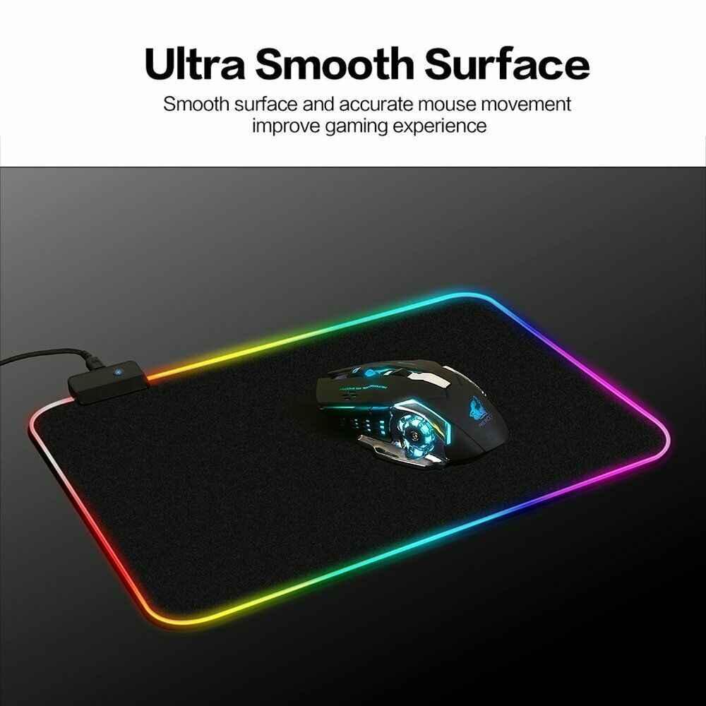 Rgb Lichtgevende Gaming Muismat Kleurrijke Oversized Gloeiende Usb Led Extended Verlicht Gamer Toetsenbord Antislip Deken Mat Voor pc