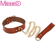 Meselo PU Leather Metal Chain Leash SM Restraint Tied Collar Slave Play Restraints Adult Games Sex Toys For Couples Erotic Toys