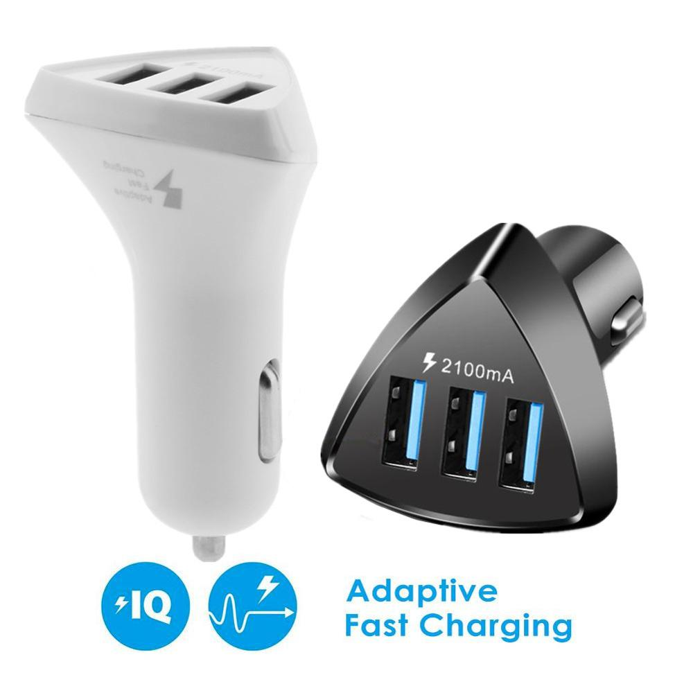 Quick Charge 3 Port USB Car Charger 5V/3.1A Fast Charging DC Adapter For Mobile Phone Automobiles Car USB