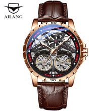 AILANG Skeleton Double Tourbillon Business Watch Men Automatic Luminous Clock Men Top Brand Mechanical Watch  Relogio Masculino
