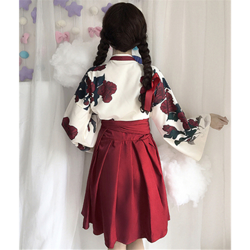 Girls Japanese Style Retro Kimono Floral Long Sleeve Woman Party Dress Summer Fashion Outfits Top Bow Skirt Haori for Female