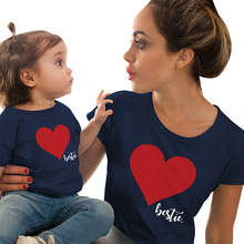 Mommy and Me Clothes Mother Daughter Matching Family Outfits T-shirt Women Kids Baby Girls Soft Cotton Heart Print Tops O-neck linda johnston o alias mommy
