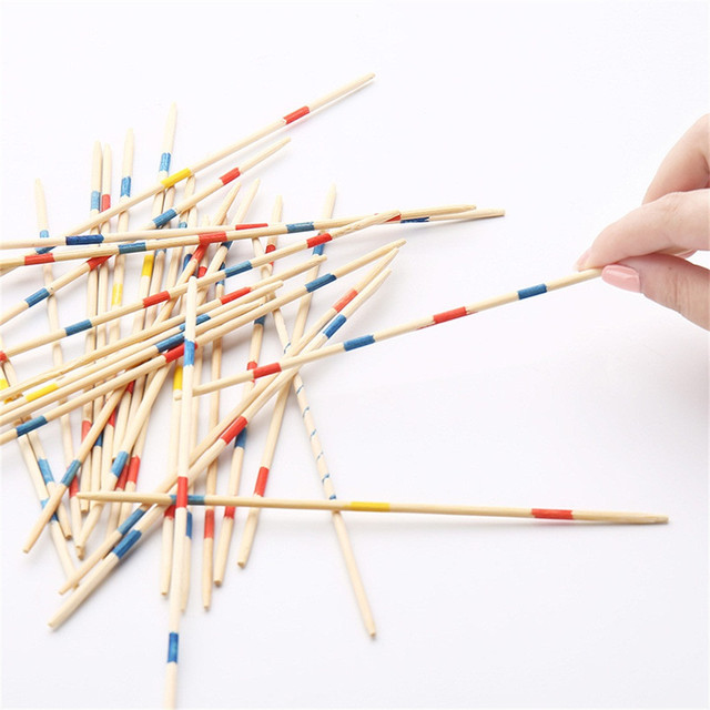 Baby Educational Toys Wooden Traditional Mikado Spiel Pick Up Sticks With Box Game Educational Toys For Parent-child Interaction 4