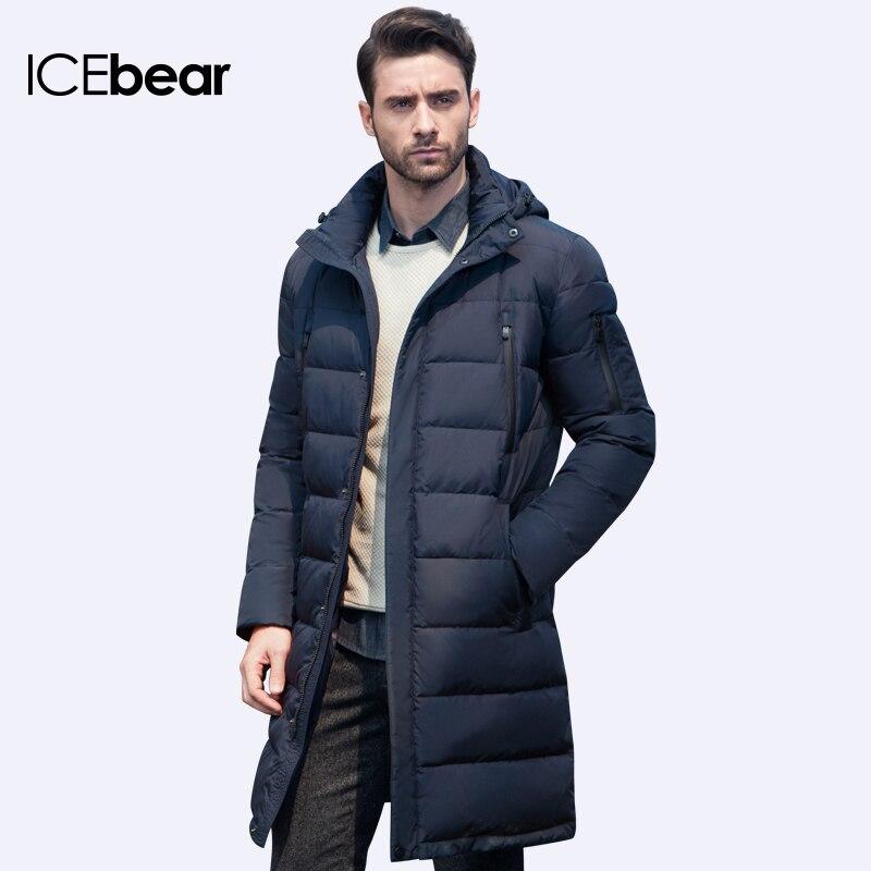 Icebear 2019 เสื้อผ้าแจ็คเก็ตยาวหนาฤดูหนาว Men Solid Parka แฟชั่น Overcoat Outerwear 16M298D-ใน เสื้อกันลม จาก เสื้อผ้าผู้ชาย บน   1