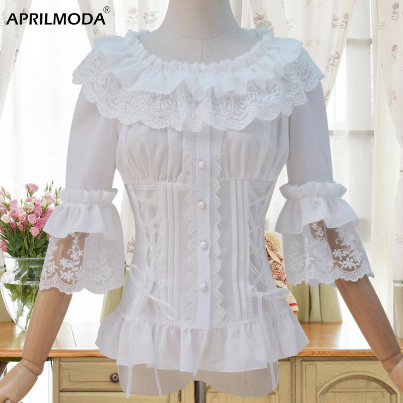Ruffled Trim Sweet Lolita Blouse 1/2 Horn Sleeve Chalaza Slim Fit White Lace Blouse Vintage Chemise Femme Blouses Women Shirts