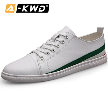 Fashion White Sneakers Men Genuine Leather Man Shoose Casual Mens Leather Shoes Zapatillas Blancas Hombre Simple Man Shoe 37-44