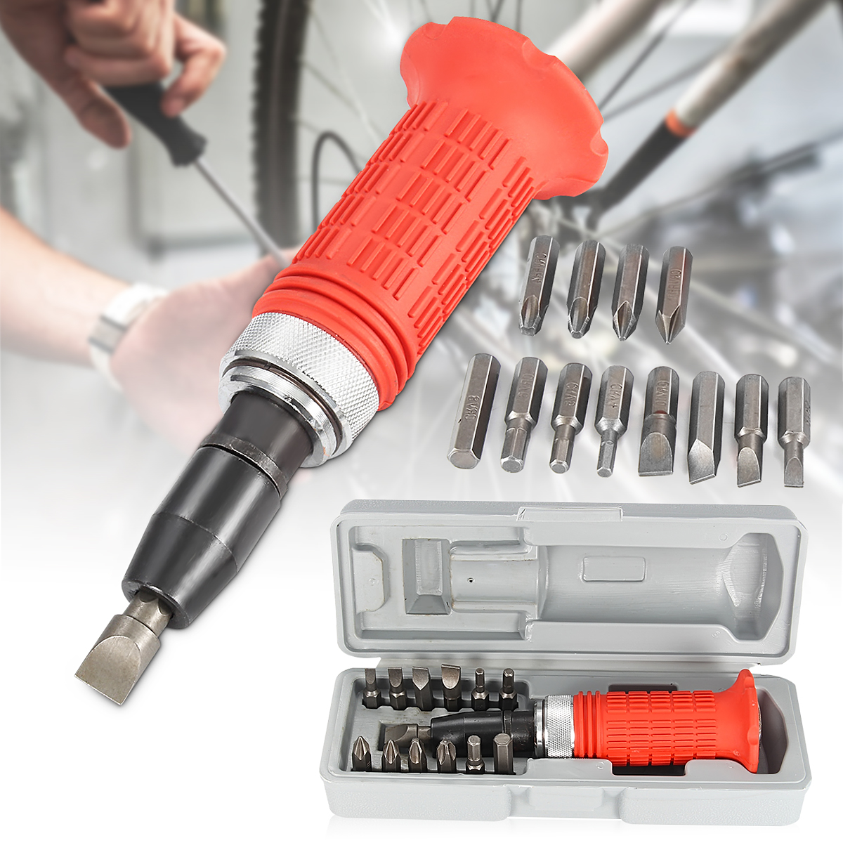 Impact Screwdriver Set Driver Carbon Steel Multi Bits Hammer Socket Repair Kit Storage Box Screwdriver Head Set Multi-purpose