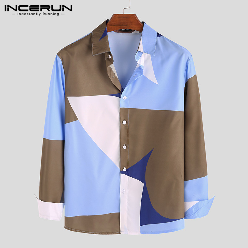 INCERUN Men Shirt Colorful Printed Long Sleeve Streetwear Lapel Collar Fitness Fashion Korean Style Casual Brand Shirts Men 2020