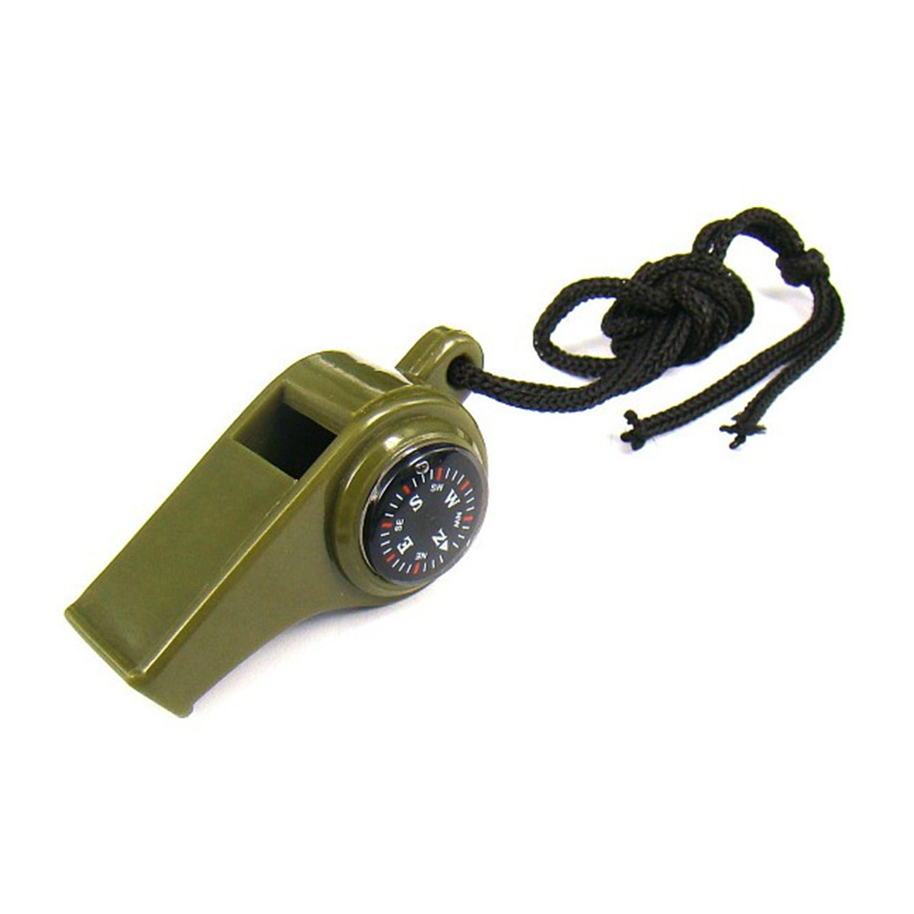Outdoor Whistle Emergency Gear Camping Survival 3 In 1 Plastic Whistle Compass Thermometer