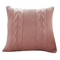 Fronha sólida cor de rosa cremosa do vintage da capa de almofada tecida da dobro linha 45cm x 45cm macia|Fronha|   -