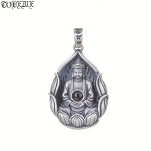 Collar de plata tibetana Avalokitesvara colgante de Buda de Guanyin, amuleto de buena suerte, 990