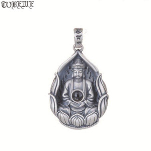 Image 1 - NEUE 990 Silber Tibetischen Avalokitesvara Bodhisattva Anhänger Halskette Silber Kuanyin Anhänger Guanyin Buddha Amulett Glück