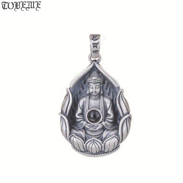 NEUE 990 Silber Tibetischen Avalokitesvara Bodhisattva Anhänger Halskette Silber Kuanyin Anhänger Guanyin Buddha Amulett Glück