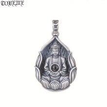 Nowy 990 srebrny tybetański Avalokitesvara bodhisattwa naszyjnik srebrny Kuanyin wisiorek Guanyin budda Amulet powodzenia