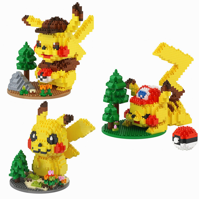 DIY mini ideas Anime Pokemon Detective Pikachu Elf ball Building Blocks Model Sets Bricks Classic Movie For Children Toys Gift 1