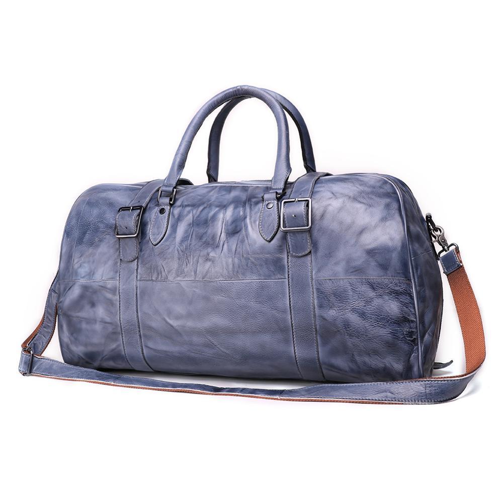 Vintage Men's Leather Travel Luggage Gym Bag Shoulder Bag Outdoor Overnight Tote