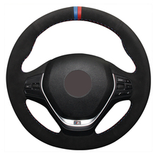 Blue Red Marker Black Suede Car Steering Wheel Cover for BMW F20 2012-2018 F45 2014-2018 F30 F31 F34 2013-2017 F32 F33 F36 2014 universal replacement carbon fiber mirror cover for bmw rearview door mirror covers x1 f20 f22 f30 gt f34 f32 f33 f36 m2 f87 e84