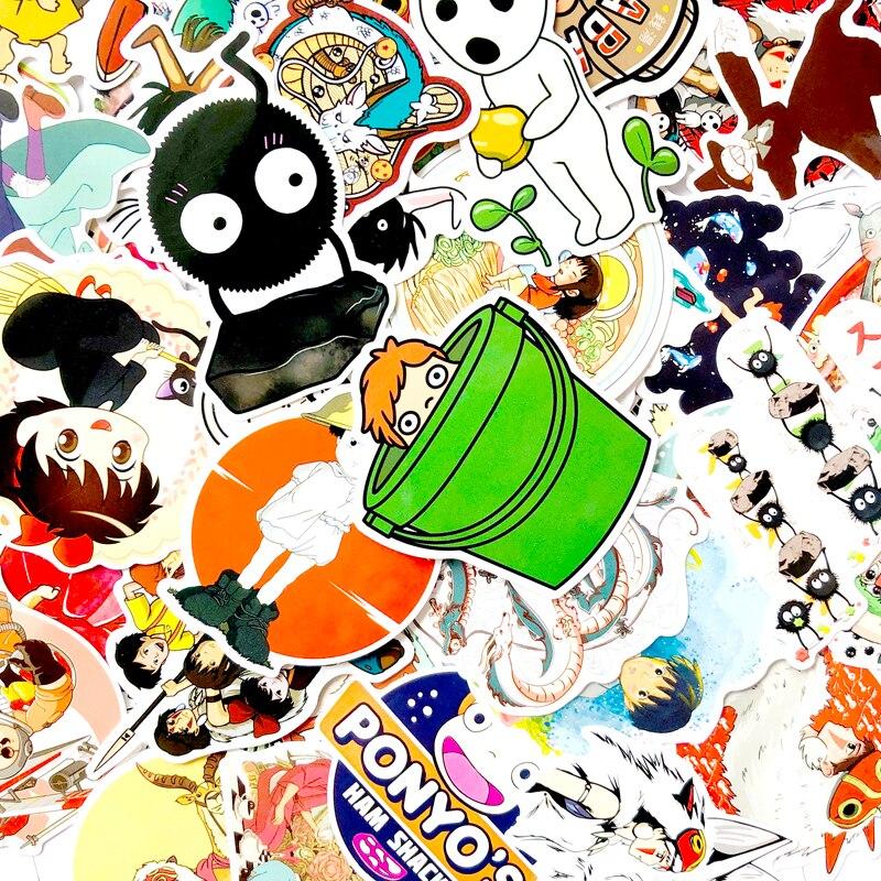 50pcs Princess Mononoke Hime Scrapbooking Stickers Decal For Guitar Laptop Luggage Car Fridge Graffiti Sticker