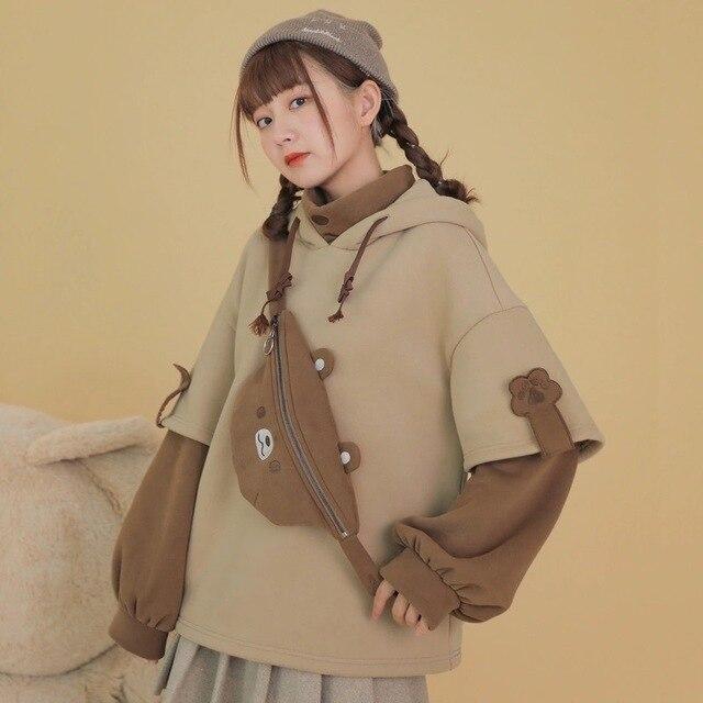 HOUZHOU Kawaii Cute Oversized Hoodie Harajuku Plus Size Pullovers Korean Fashion Long Sleeve Streetwear Women Aesthetic Coat 2