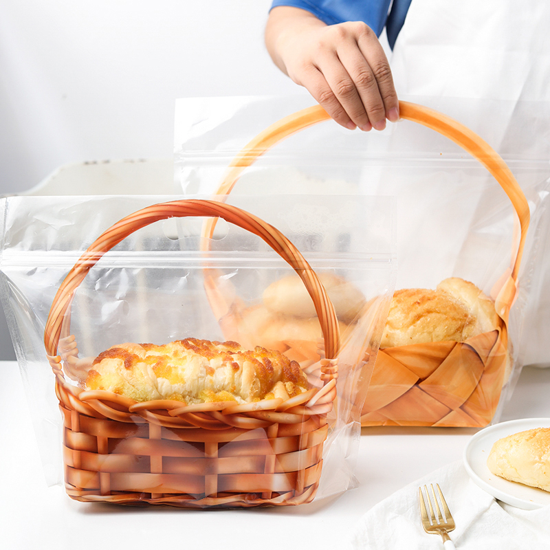 5PCS Creative Transparent Portable Basket Toast Bread Ziplock Bag Cake  Cookie Candy Pastry Gift Bags Baked Food Packaging Bag