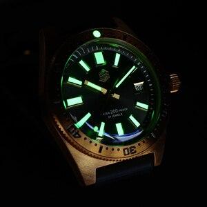 Image 5 - San Martin Tin Bronze 62Mas Diver Automatic Mechanical Men Watch NH35 Sapphire Bronze Bezel Sunray Dial Rubber Calendar Luminous