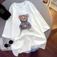 Style coréen Surdimensionné T-Shirts Femmes T-shirt Impression Été 2021 Femelle Décontracté Lâche Kawaii T-Shirts Hauts Graphique Femmes Vêtements