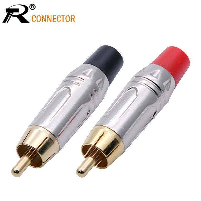 10pairs/20 pces rca conector suave silve rca macho plugue banhado a ouro adaptador de áudio preto & vermelho pigtail altofalante plug para 7mm cabo
