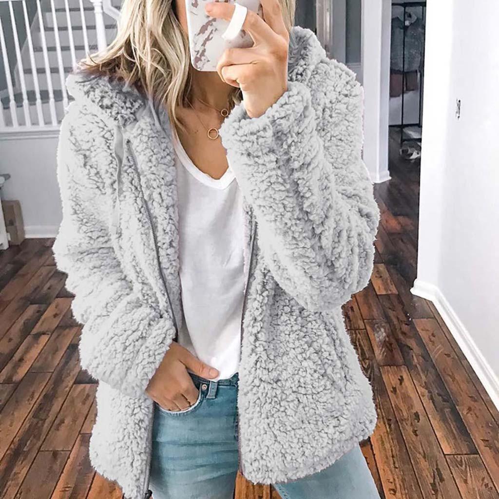 Womens Thick Teddy Bear Coats Long Cardigan Fluffy Jackets Warm Outwear Overcoat