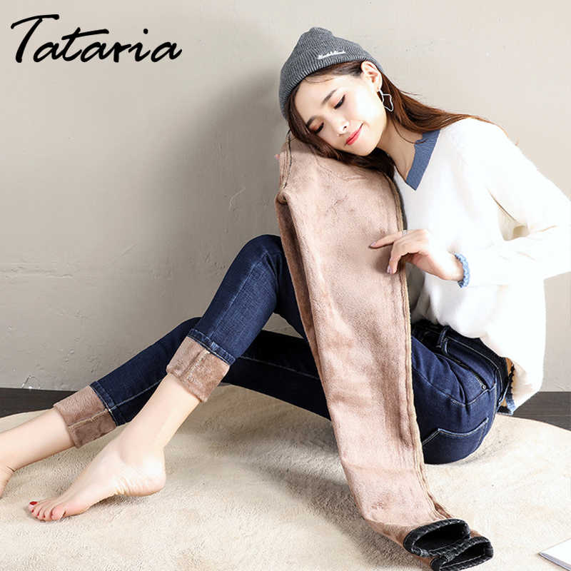 Tataria Autumn Winter Thick Jeans for Women Casual Jeans Skinny Warm Denim Pencil Pants Women Mid Waist Ladies Jeans Streetwear