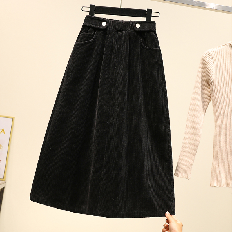 Image 4 - Lucyever Plus Size Women Corduroy Skirt Autumn Winter Vintage Harajuku Loose A line Female Long Skirt High Waist Lady Faldas 5xl-in Skirts from Women's Clothing
