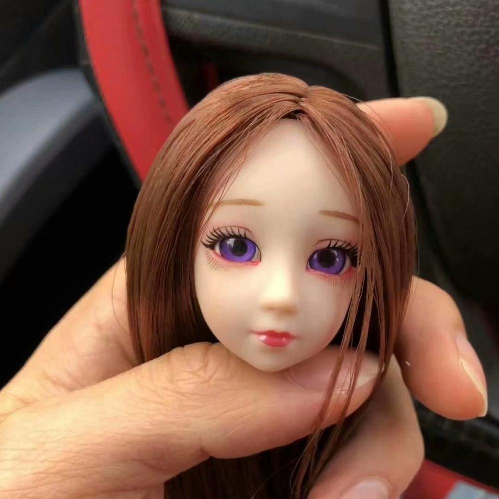 BJD Doll Accessories Head 3D Blue&Purple Eyes Curls Straight Hair Female Naked Nude Body For 1/6 BJD Doll Gift For Girls Head