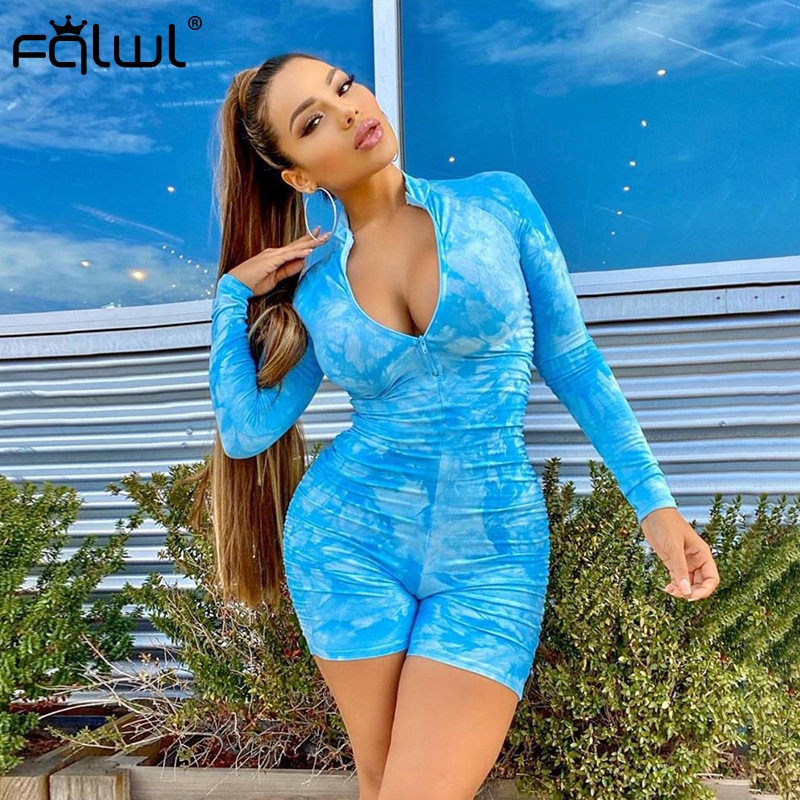 He4a44665c7f74036ad40511e4319b36dM - FQLWL Tie Dye Print Summer Sexy Bodycon Rompers Womens  Jumpsuit Playsuit Zipper Skinny Long Sleeve Ladies Short Jumpsuit Female