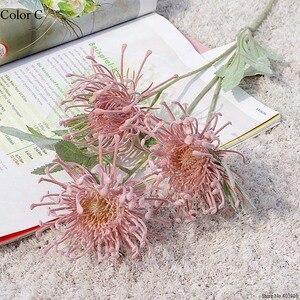 Флокированные Leucospermum искусственные цветы для украшения свадьбы Искусственные цветы пластик искусственный цветок растение Флер искусстве...