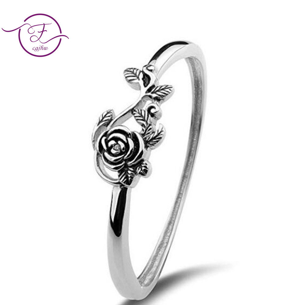 925 Sterling Silver Ring For Women Wedding Anniversary Fine Jewelry Retro Silver Rose Ring Ancient Silver Engagement Ring