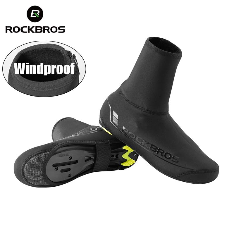 RockBros Cycling Shoe Covers Winter Warm Rainproof Overshoes Size 34-46 Black