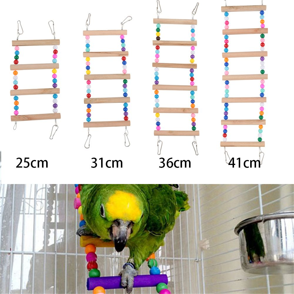 1pc Birds font b Pets b font Parrots Ladders Climbing Toy Hanging Colorful Balls With Natural