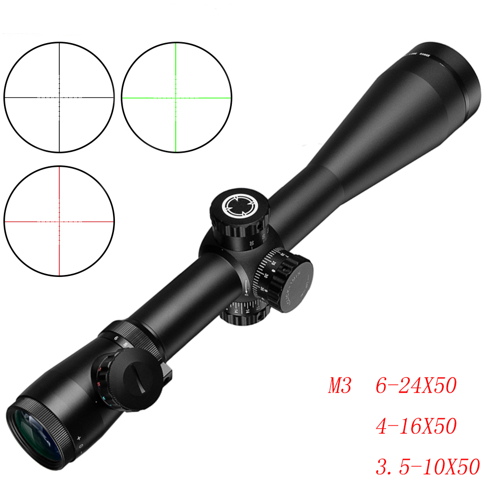 M3 Long Range Riflescope 6-24X50/4-16X50/3.5-10X50 Optical Hunting Rifle Scope For Sniper Airsoft Airgun