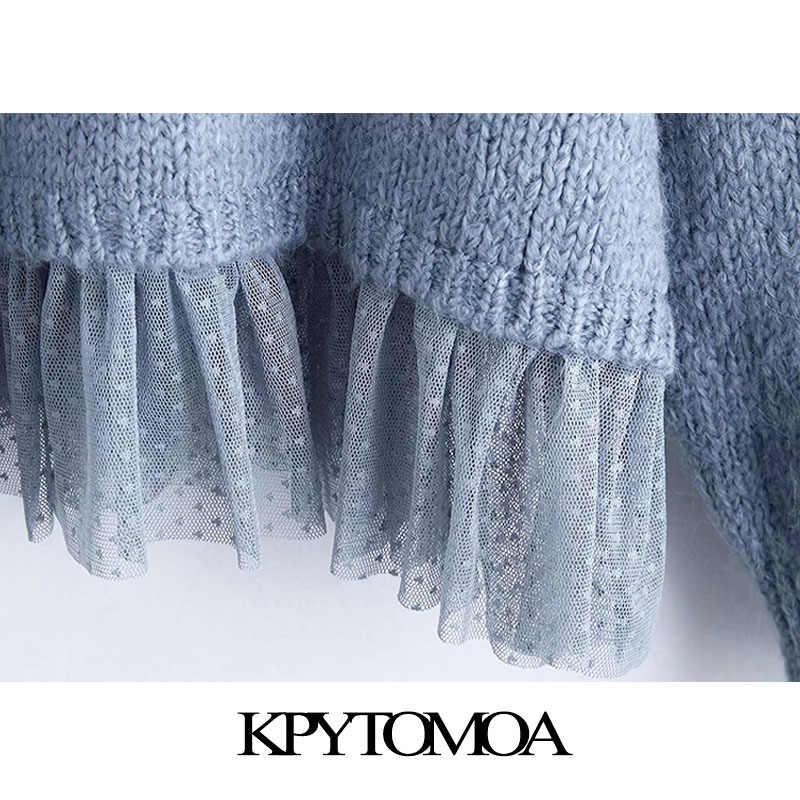 빈티지 세련 된 패치 워크 느슨한 니트 스웨터 여성 2020 패션 후드 긴 소매 여성 풀오버 세련 된 탑스