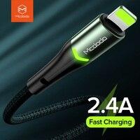 MCDODO LED USB Cable para iPhone 12 mini 11 Pro Max Xs XR 8X8 7 6 6s de 5s Plus iPhone iPad carga rápida cargador de teléfono móvil Cable de datos