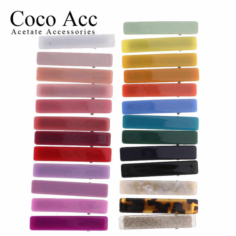 2020 new hot design candy solid korean design acrylic acetate rectangle bar japan hair side clips hairpin for kids baby girls